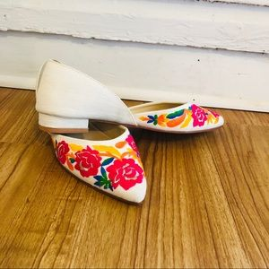 Anthro d'Orsay flats NWT embroidered flowers